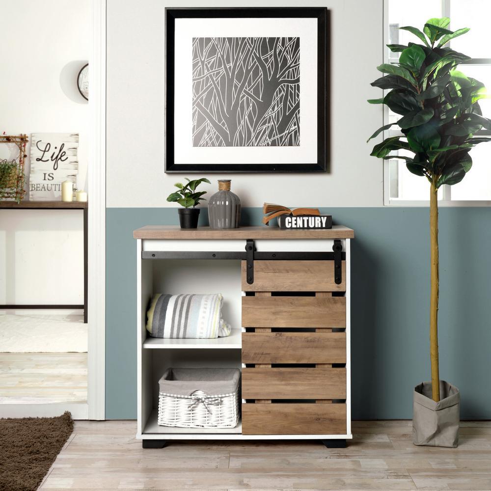 Deals on FurnitureR 32.3-inch Sliding Slat Barn Door Accent Cabinet