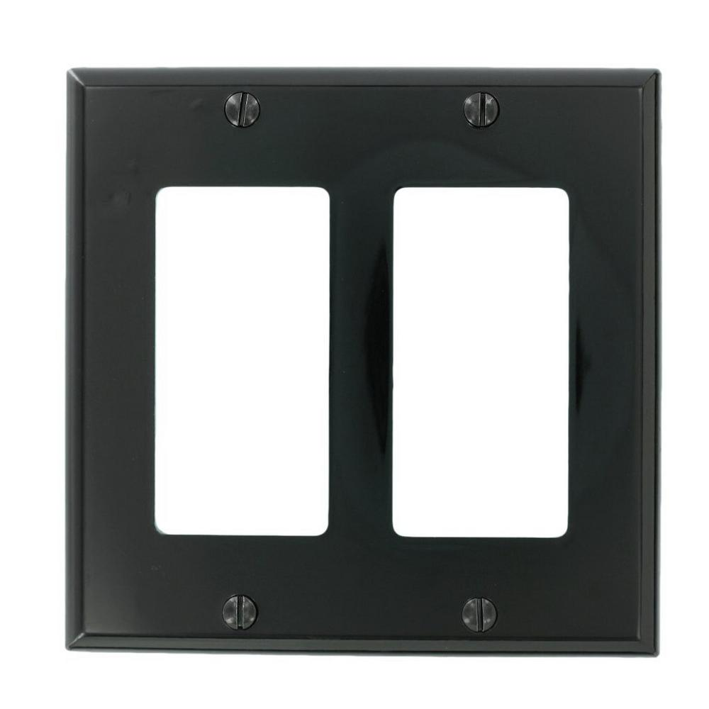 2-Gang Decora Nylon Wall Plate, Black