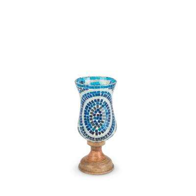Blue Patterned Hurricane Glass Candle Holder