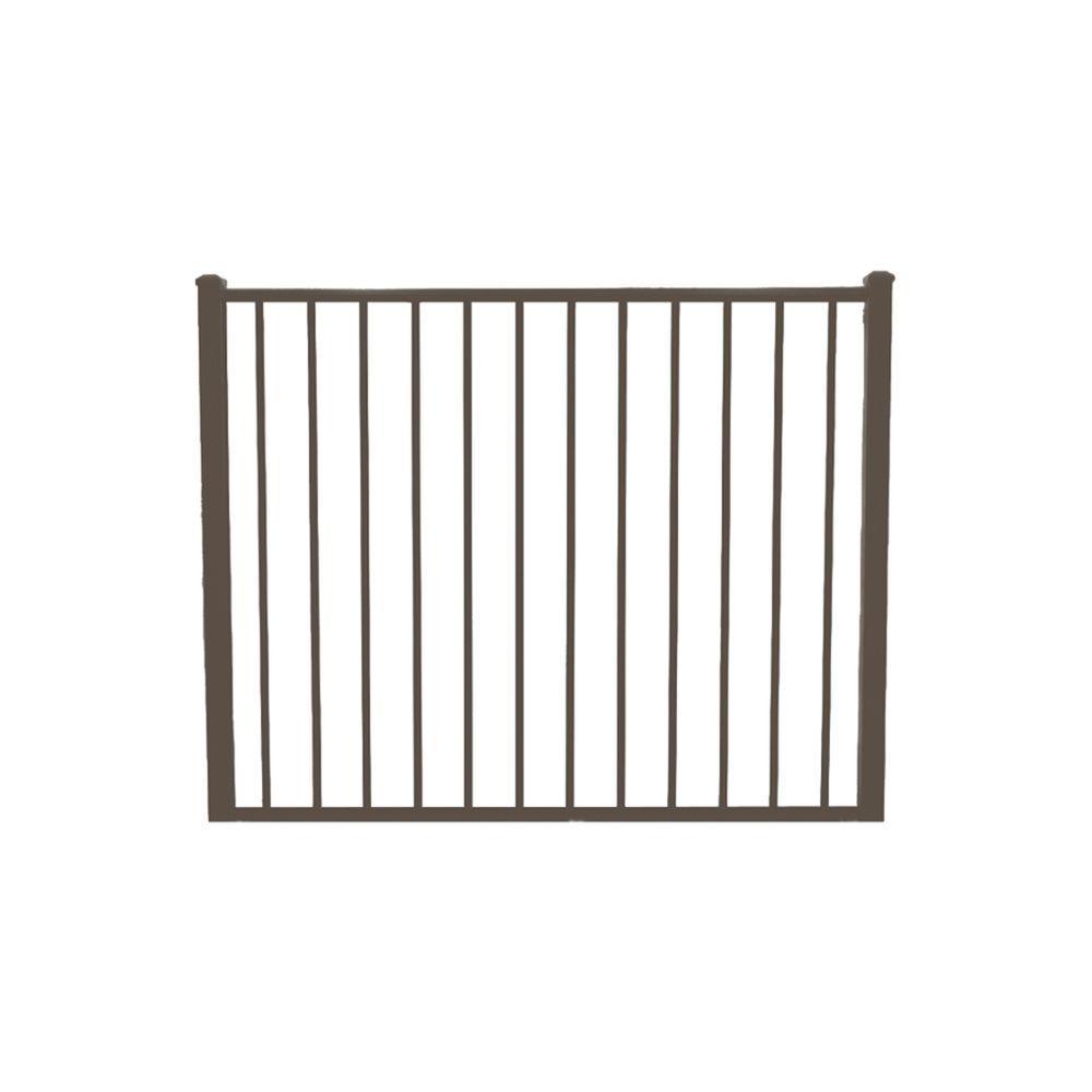 Newtown 4 ft. W x 4 ft. H Bronze Aluminum Fence Gate