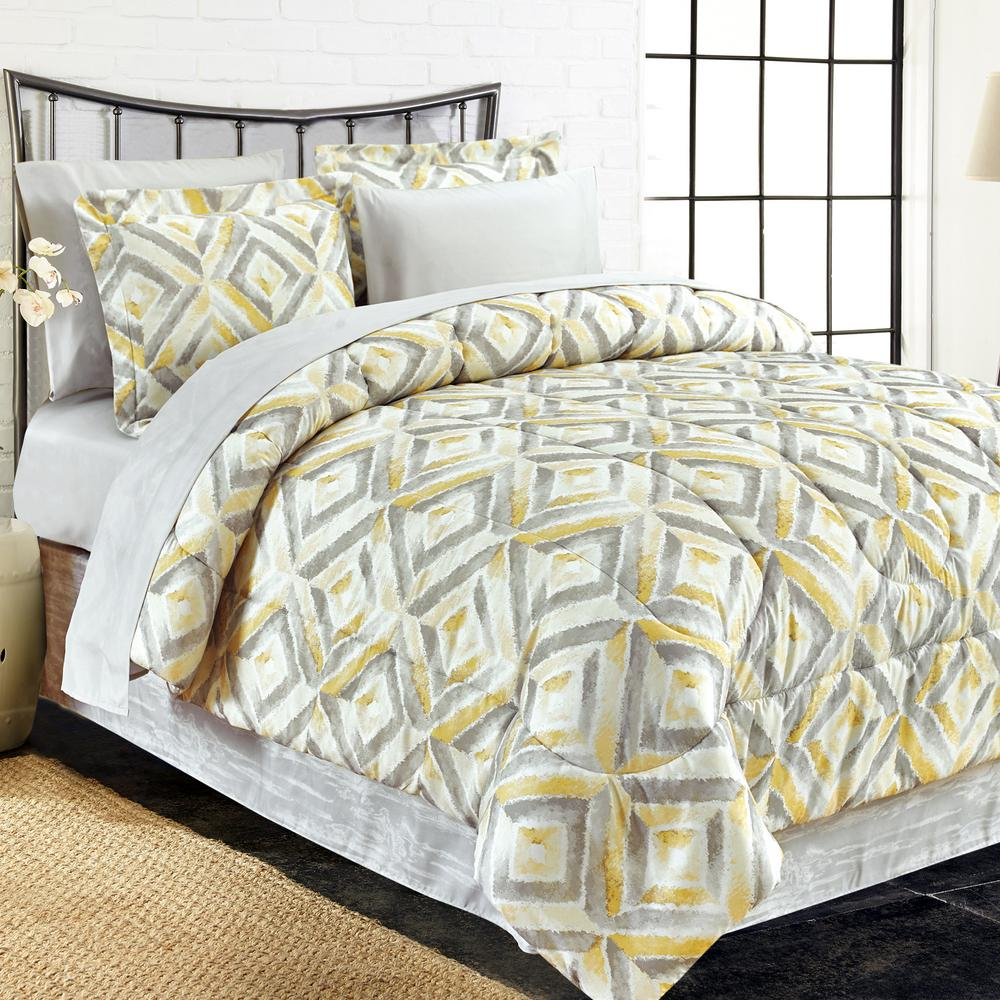 Brown Grey Porter 8 Piece Yellow King Bed In Bag Set