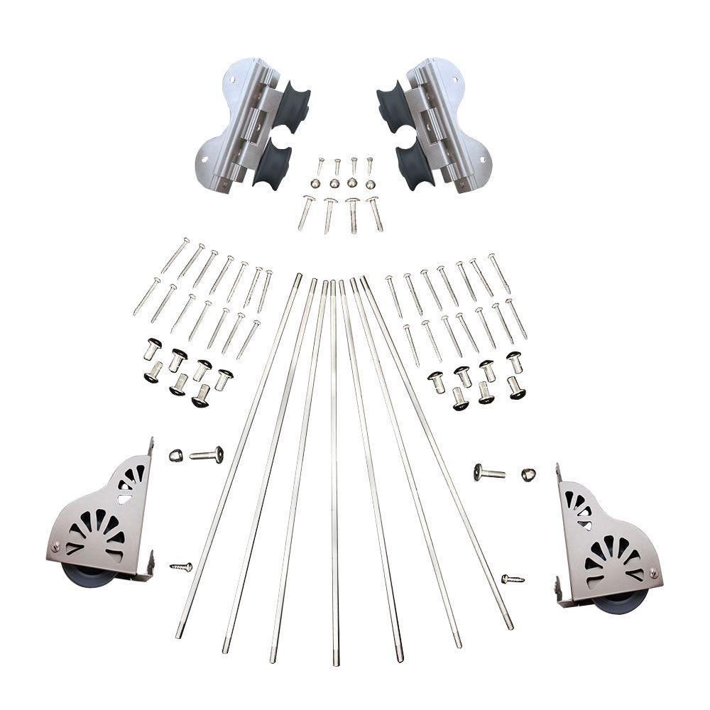 Quiet Glide Satin Nickel Braking Swivel Rolling Ladder Hardware Kit