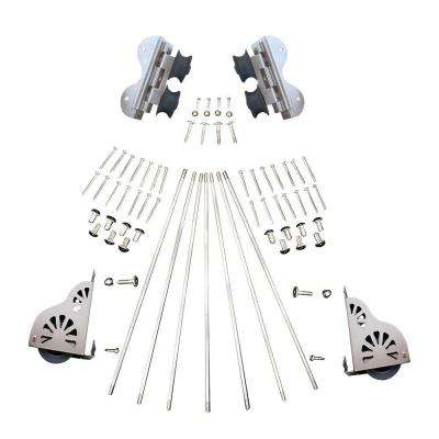 Satin Nickel Braking Swivel Rolling Ladder Hardware Kit
