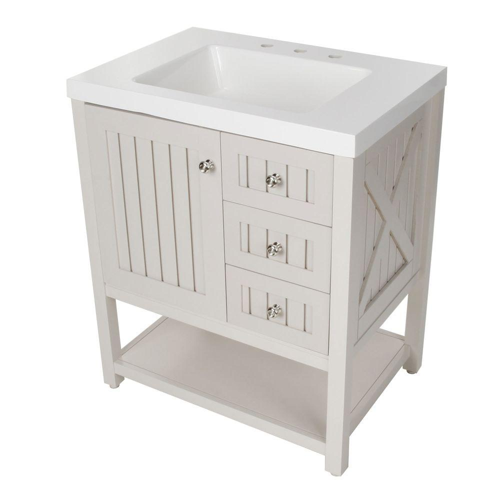 martha stewart living seal harbor 30 14 in w bath vanity in sharkey gray with vanity top in white sl30p2com sg the home depot - Bathroom Sink Cabinets Home Depot