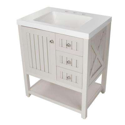 Seal Harbor 30 in. W x 22 in. D Bathroom Vanity in Sharkey Gray with Vanity Top in White