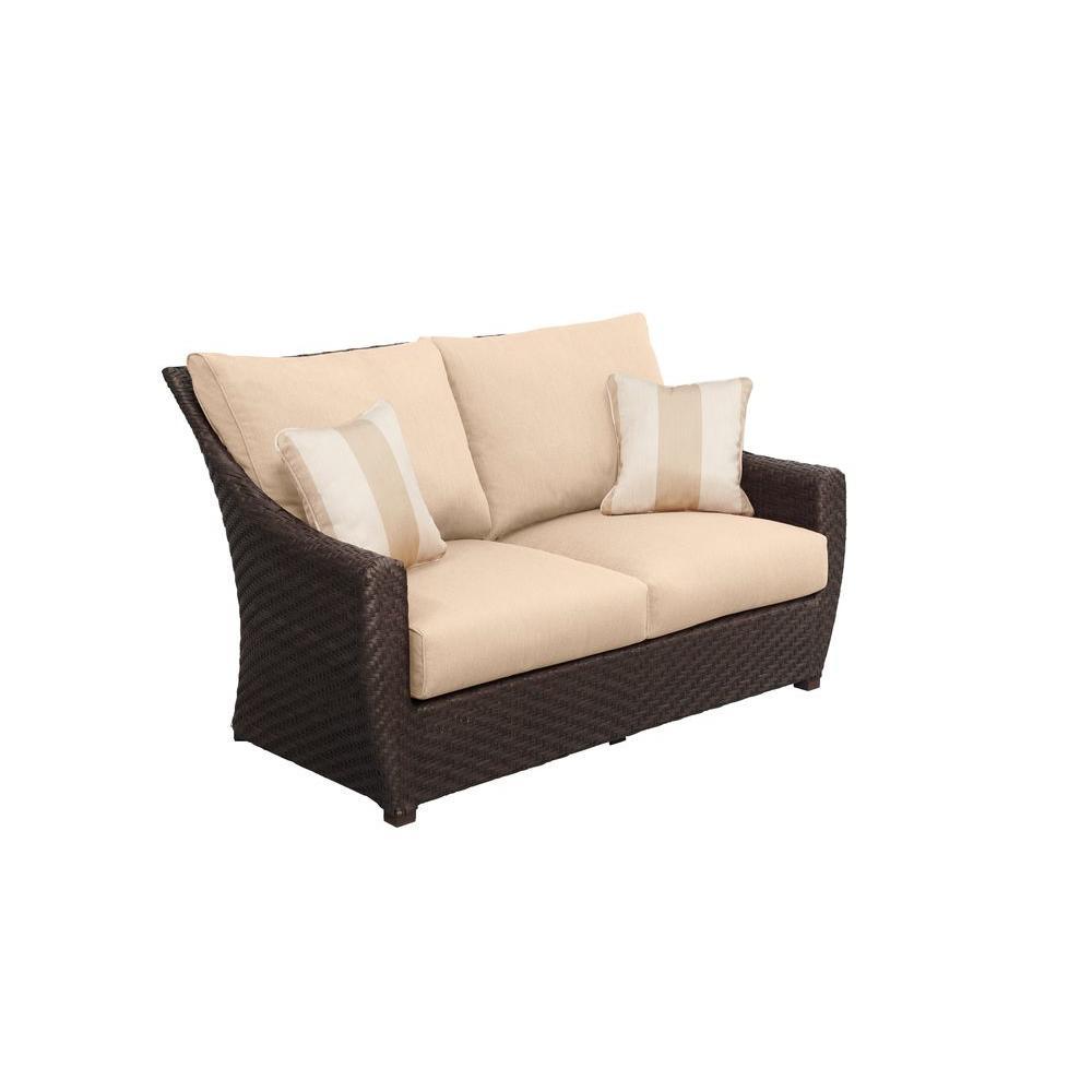 Highland Patio Loveseat with Harvest Cushions and Regency Wren Throw Pillows -- CUSTOM