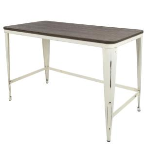 Lumisource Pia Vintage Cream with Espresso Wood Top Industrial Desk by Lumisource