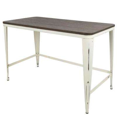 Pia Vintage Cream with Espresso Wood Top Industrial Desk