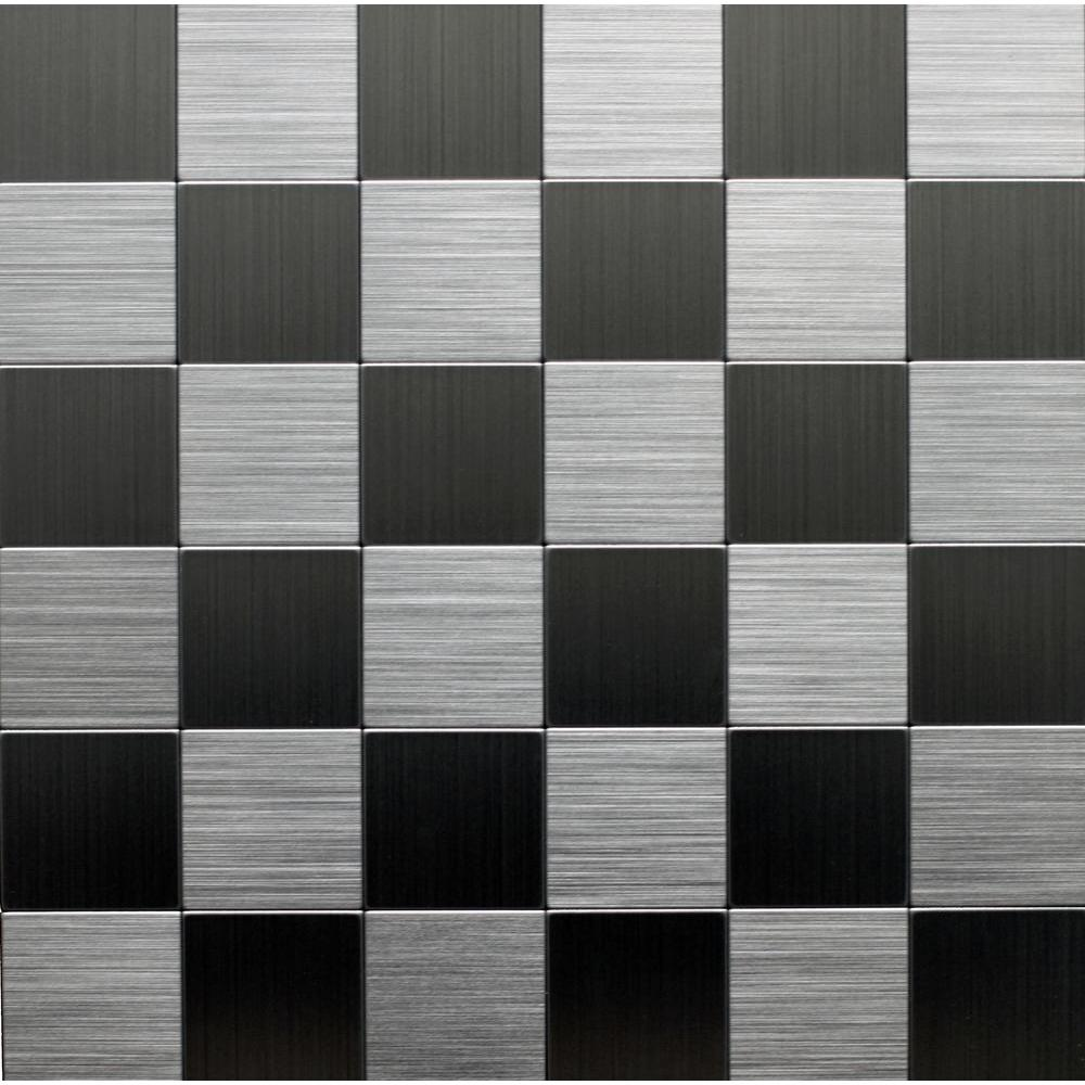 Sample Stainless Steel Metal Pattern Mosaic Tile Kitchen: Instant Mosaic 12 In. X 12 In. Peel And Stick Brushed