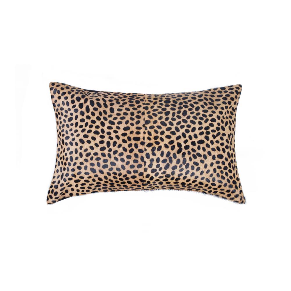 Torino Togo Cowhide Cheetah Print 12 in. x 20 in. Throw Pillow