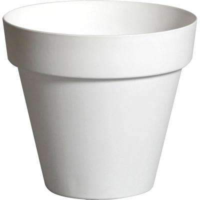 Rio 11.5 in. Dia White Plastic Planter