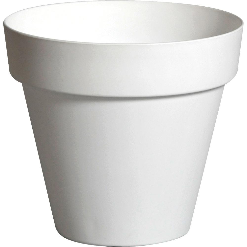 White pride garden products plastic planters pots planters dia white plastic planter mightylinksfo