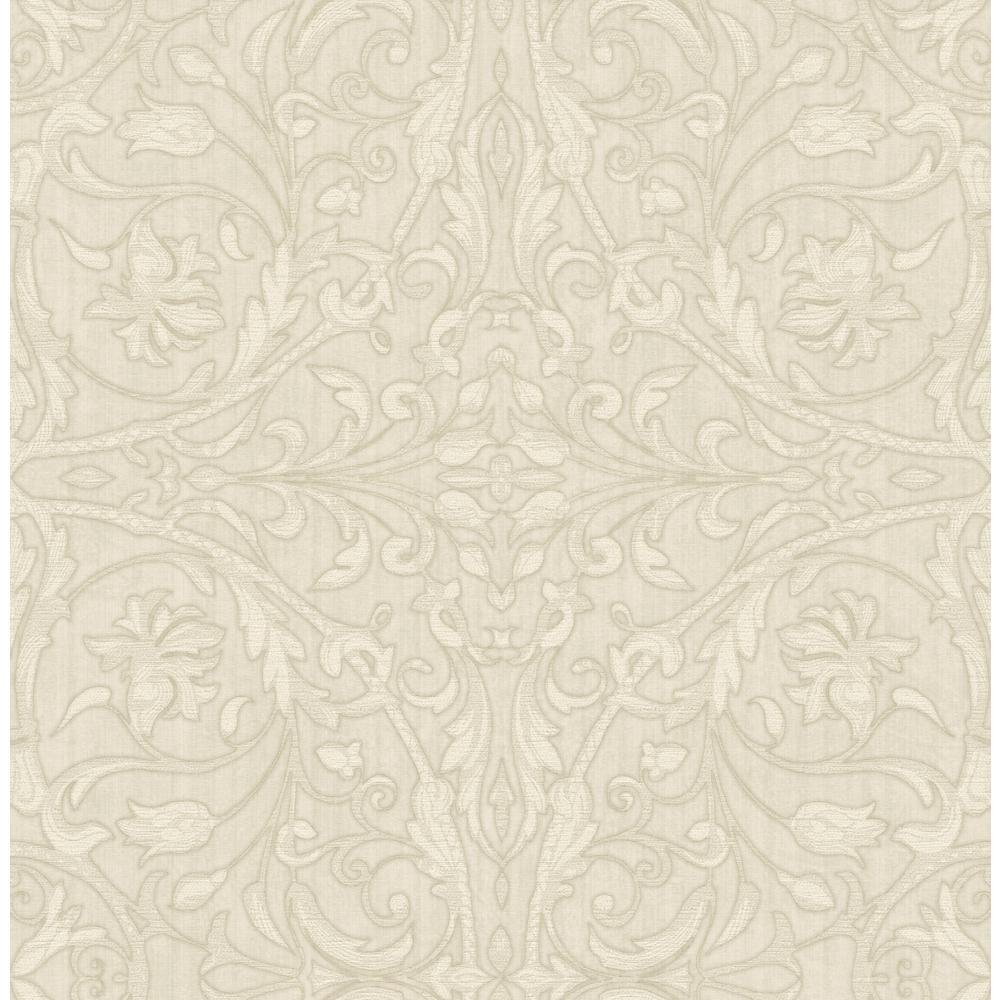 Fenice Beige Scroll Wallpaper Sample