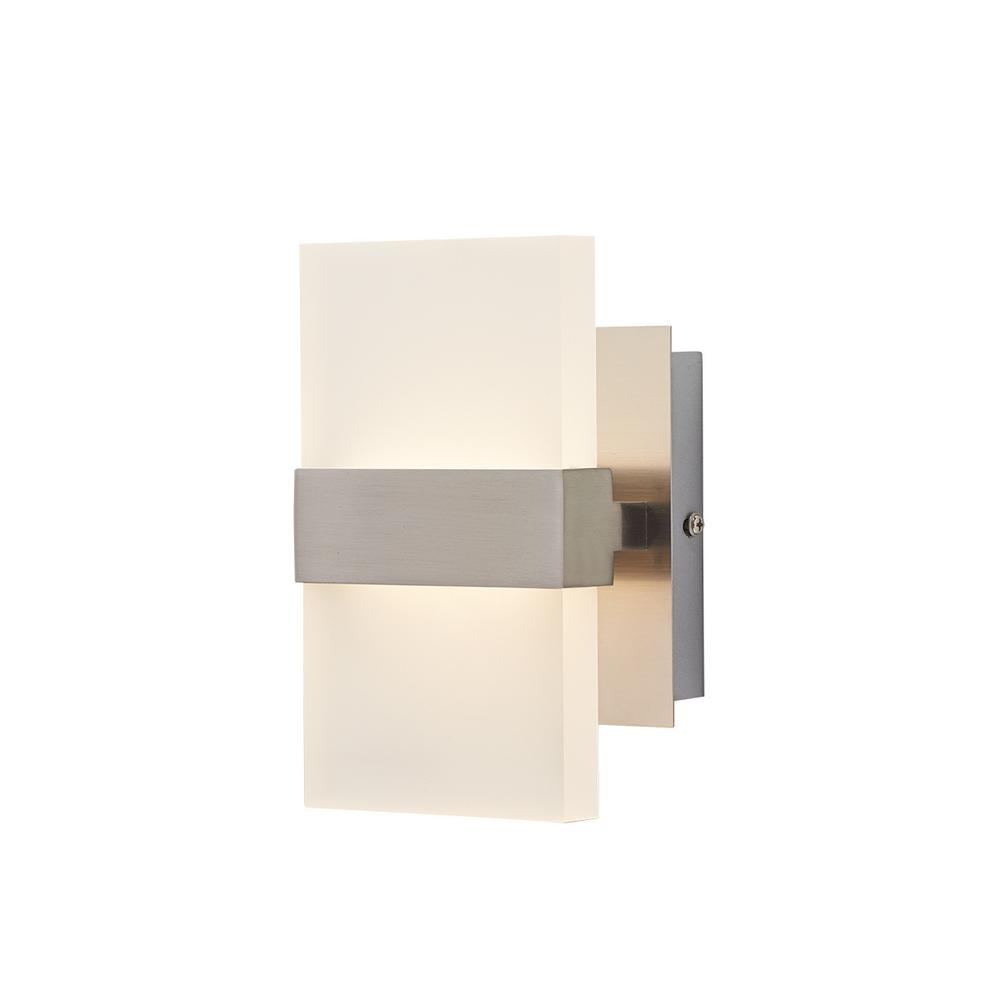 10 Watt 2 Light Brushed Nickel Integrated LED Wall Sconce