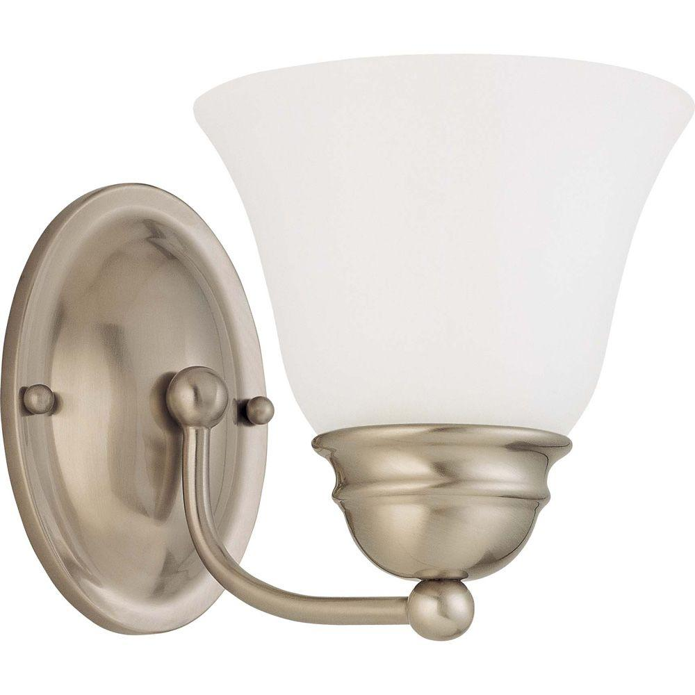 1-Light Brushed Nickel Vanity Light with Frosted White Glass