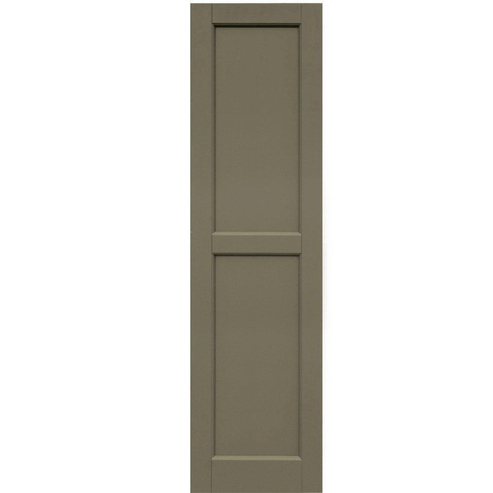 Winworks Wood Composite 15 in. x 56 in. Contemporary Flat Panel Shutters Pair #660 Weathered Shingle
