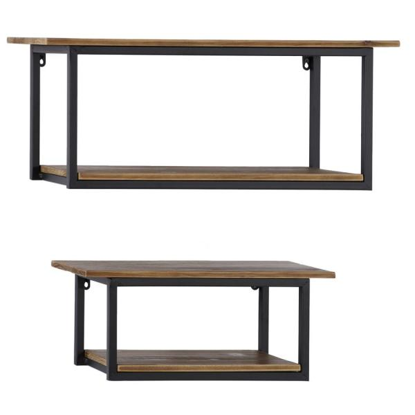Litton Lane 28 In And 20 In Wood And Black Metal Rectangular 2 Tier Decorative Shelf Set Of 2 43785 The Home Depot