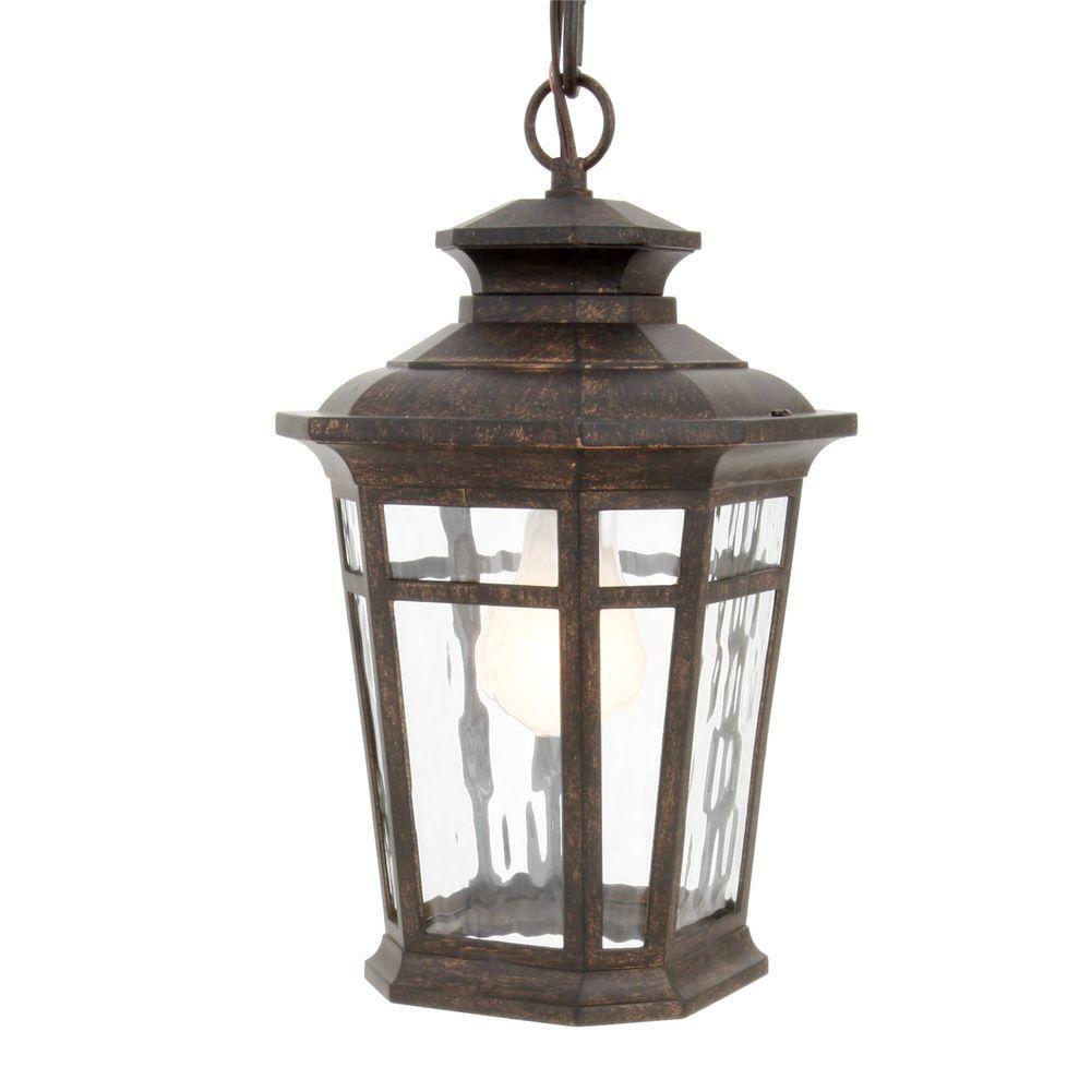 Hampton Bay Waterton Collection 1-Light Dark Ridge Bronze Outdoor Hanging Lantern