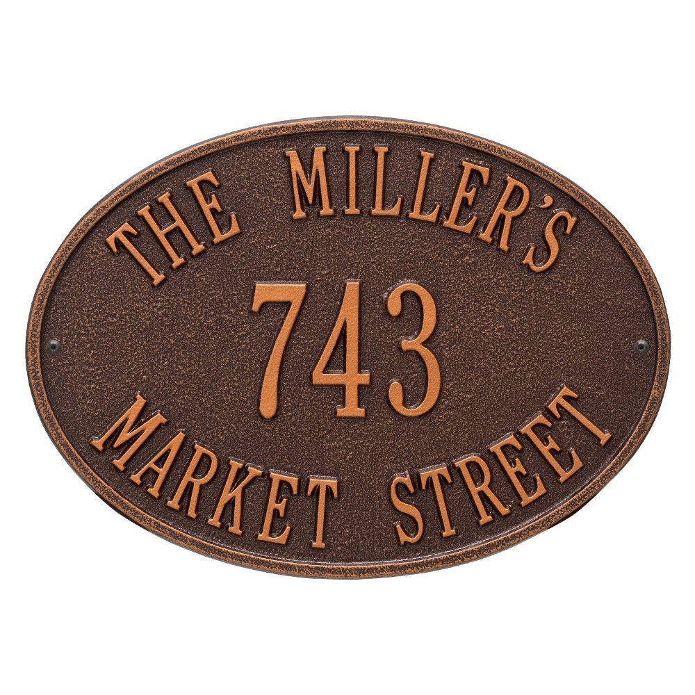 Hawthorne Standard Oval Antique Copper Wall 3-Line Address Plaque