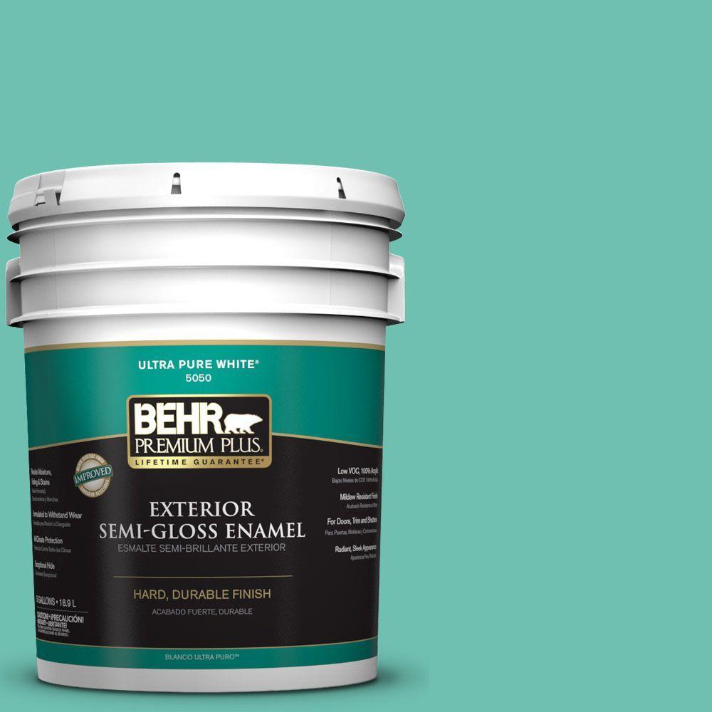 BEHR Premium Plus 5-gal. #P440-4 March Aquamarine Semi-Gloss Enamel Exterior Paint