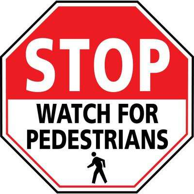 24 in. Stop Watch For Pedestrians Safety Floor Sign