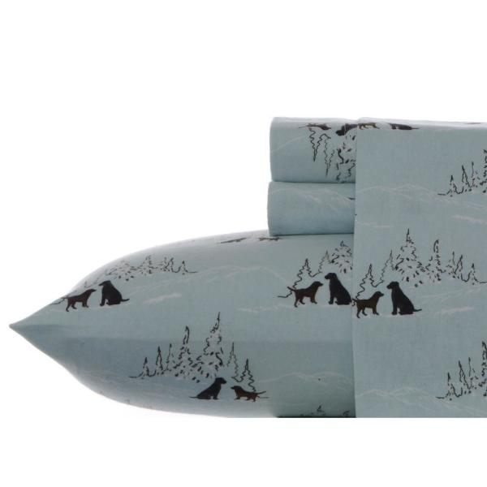 4-Piece Dog Friends Blue Graphic Flannel King Sheet Set