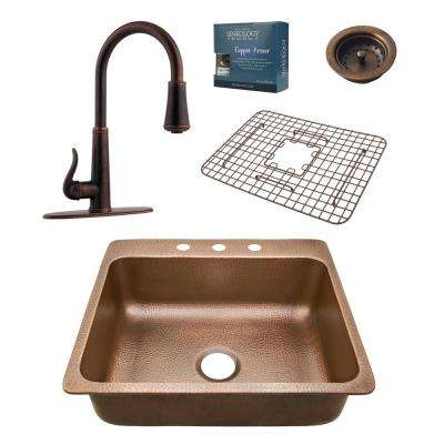 Pfister All-In-One Rosa 25 in. Drop-In 3-Hole Copper Sink Combo with Ashfield Rustic Bronze Faucet