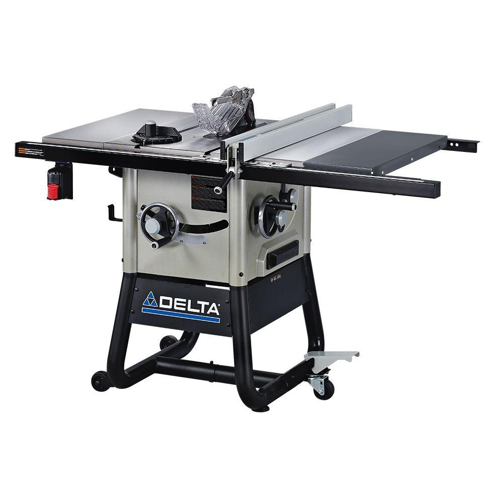 Delta 15 Amp 10 in. Left Tilt 30 in. Contractor Table Saw, with Cast Iron Wings