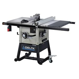 Delta 15 Amp 10 inch Left Tilt Contractor Saw with 30 inch Right Hand Rip, Cast Iron Wings and Rolling Stand by Delta