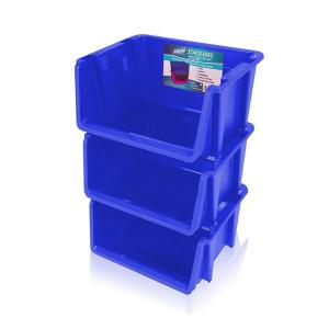 Stackable Storage Bin in Blue (3-Pack) by