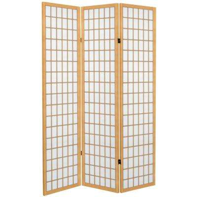 6 ft  Natural Canvas Window Pane 3-Panel Room Divider