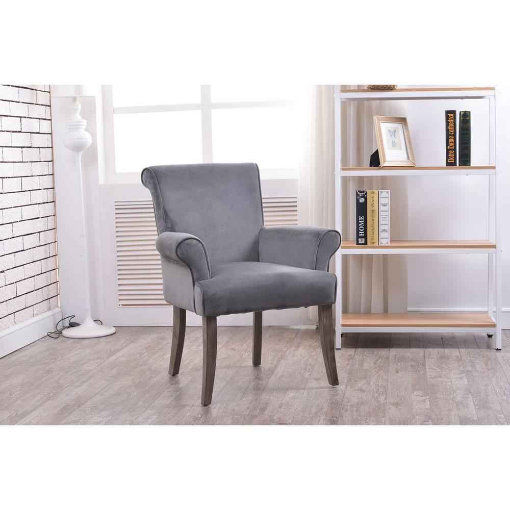 linon home decor calla charcoal microfiber arm chair 36261char01u the home depot. Black Bedroom Furniture Sets. Home Design Ideas