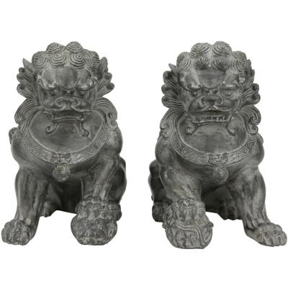 Oriental Furniture 9 in. Sitting Foo Dog Decorative Statues