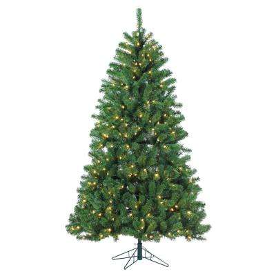 7 ft. Pre-Lit LED Montana Pine Artificial Christmas Tree with Warm White Colored Lights