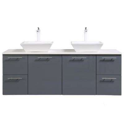 Luxury 72 in. W x 21 in. D x 26 in. H Vanity in Gray with Glassos Vanity Top in White with White Double Basin