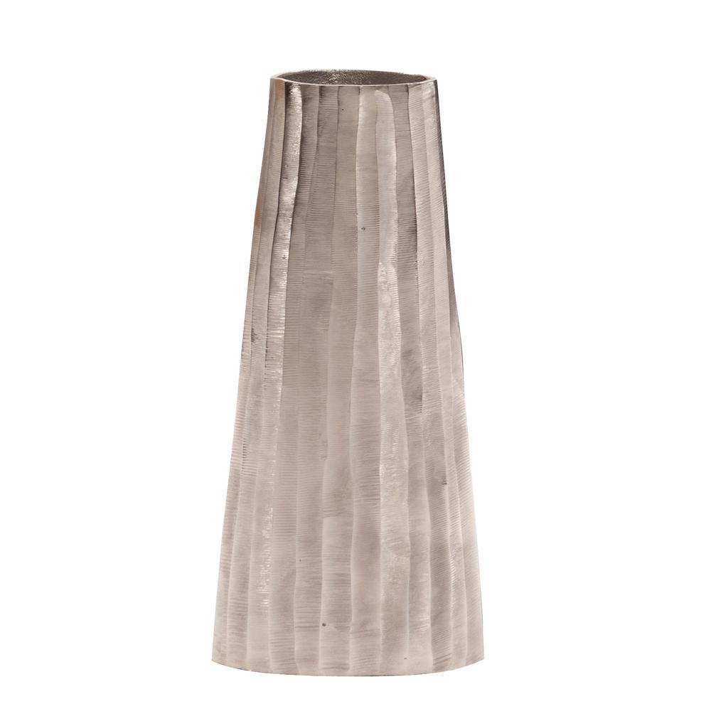 Silver Chiseled Metal Decorative Vase