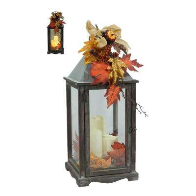 25.5 in. Weathered Wood and Metal Lantern with LED Candle
