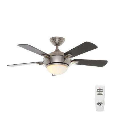 Midili 44 in. Indoor Brushed Nickel Indoor Ceiling Fan with Light Kit and Remote Control