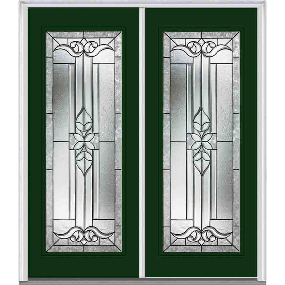 64 in. x 80 in. Cadence Left-Hand Full Lite Classic Painted Steel Prehung Front Door