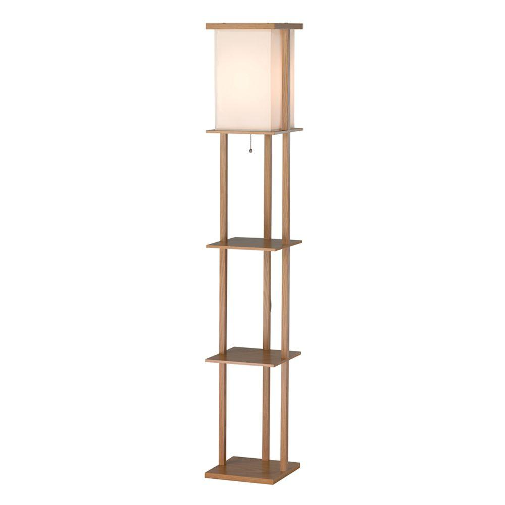 Adesso Barbery 63 in. Oak Shelf Floor Lamp