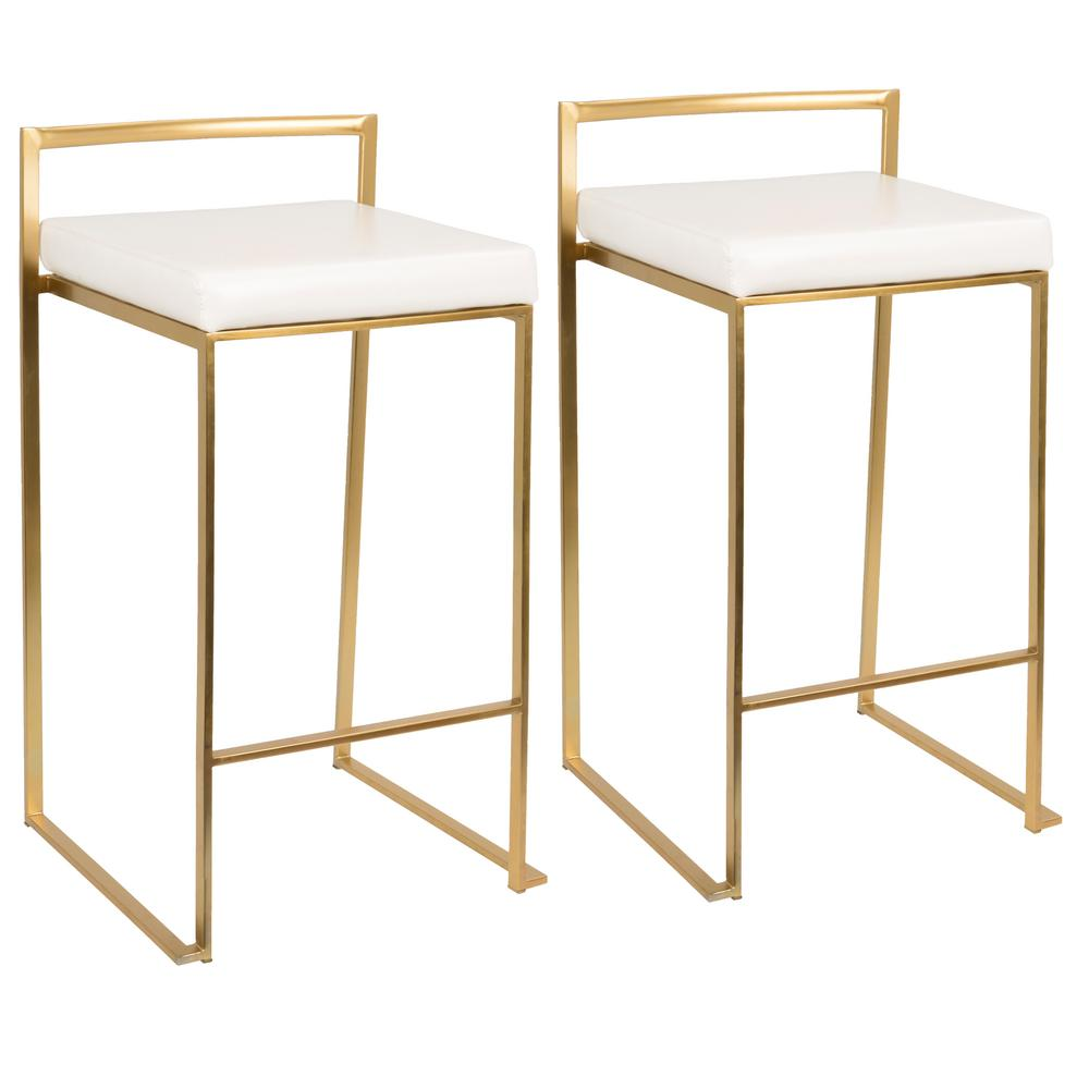 Lumisource Fuji Gold And White Counter Stool Set Of 2