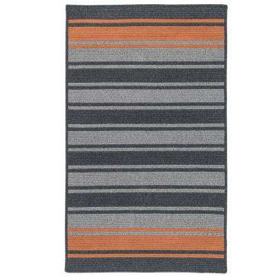 Murray Stripe Charcoal/Rust 6 ft. x 9 ft. Braided Area Rug