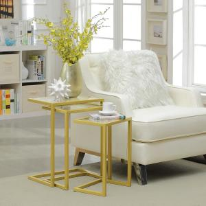Internet #304286704. Carolina Cottage Addison Gold Glass Top Nesting Table  ...
