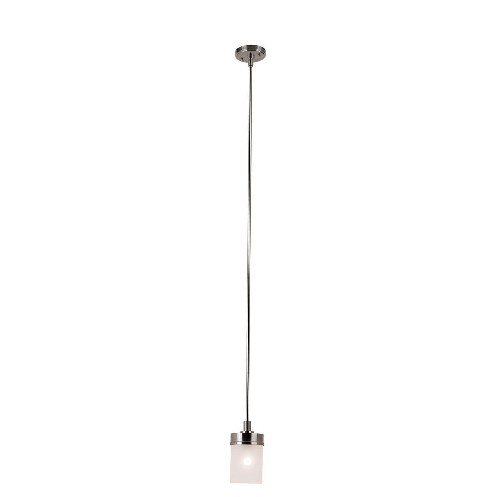 Hampton Bay 1 Light Brushed Nickel Mini Pendant With Frosted Glass Shade