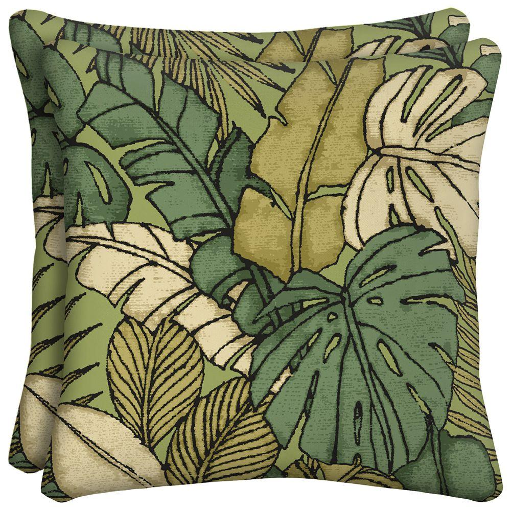Hampton Bay Prairie Palm Square Outdoor Throw Pillow (2-Pack)