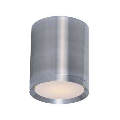 Lightray 5 in. Wide Brushed Aluminum 1-Light Outdoor Flush Mount