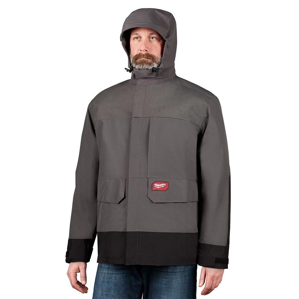 Milwaukee Men's X-Large Gray HYDROBREAK Layer Rain Shell Jacket