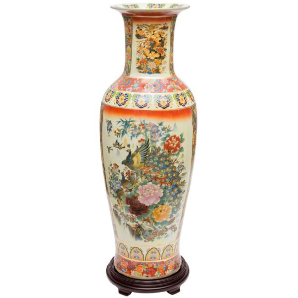 Unbranded Oriental Furniture 36 In Multi Colored Satsuma Peacock Porcelain Tung Chi Vase Bw 36vase Rm2 The Home Depot