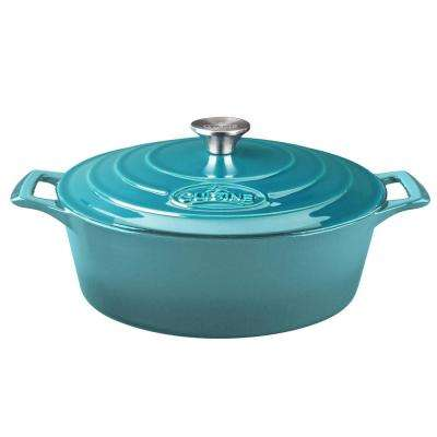 PRO Oval 4.75 Qt. Cast Iron Casserole with Enamel in High Gloss Teal