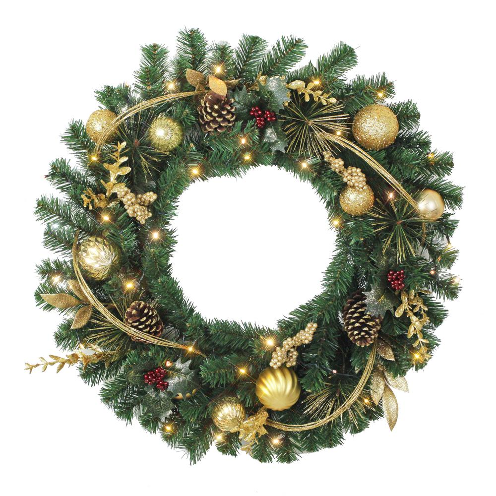 Home Accents Holiday 32 in. Pre-Lit LED Laurel Villa Artificial Christmas Wreath
